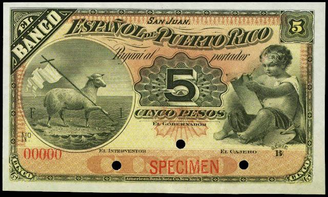 Puerto Rico Currency 5 Pesos Banco Espanol de Puerto Rico