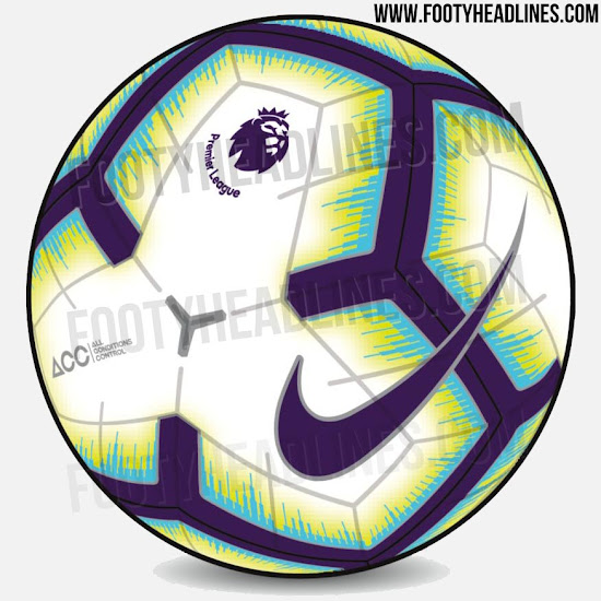 d83b92f35503 Nike s new Premier League football for the 2018-2019 season is mainly white  with dark blue   silver applications and light blue   yellow graphic  elements.