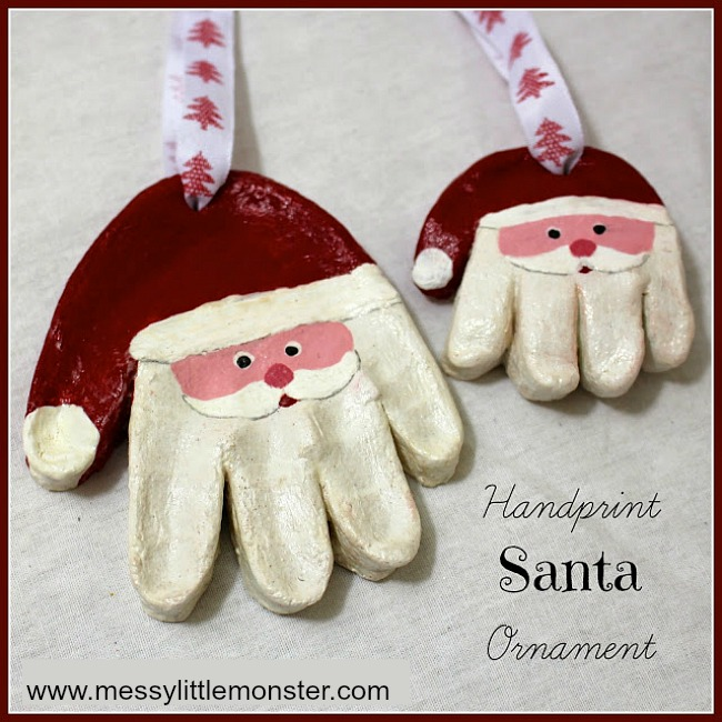 Handprint Christmas Craft Ideas Part - 33: Salt Dough Santa Handprint Ornaments. Kids Christmas Craft, DIY Keepsake  And Homemade Gift Idea