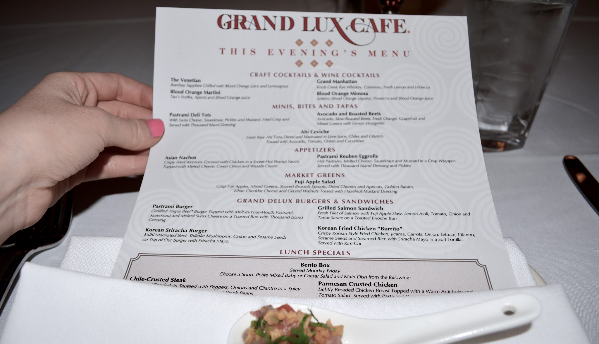 Grand Luxe Cafe's new menu, Grand Lux Cafe