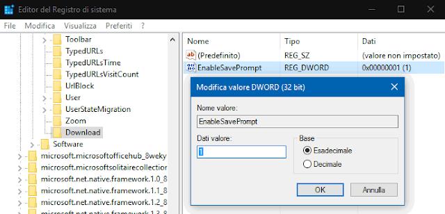 Modificare Valore DWORD Registro sistema Windows
