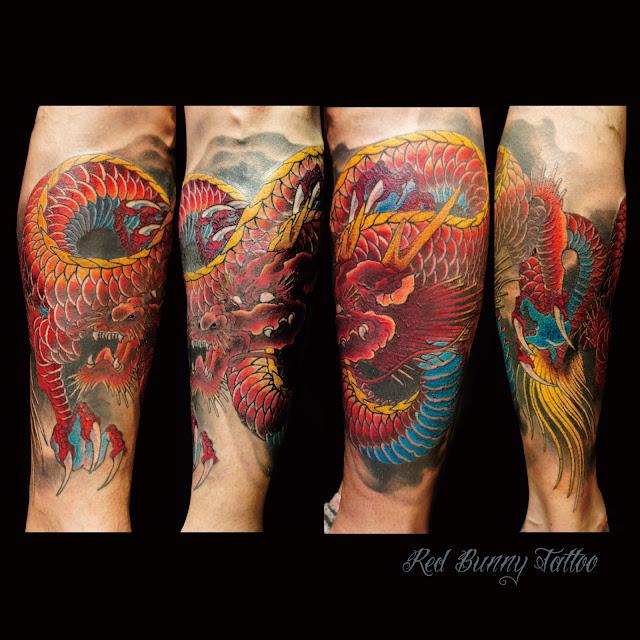 赤龍 龍 タトゥー red dragon tattoo