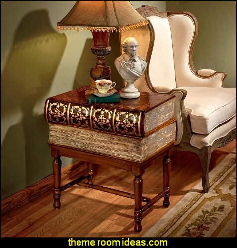Stacked Books of Shakespeare Wooden Book Side Table