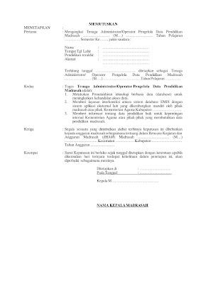 Contok SK Operator Madrasah Hal-2