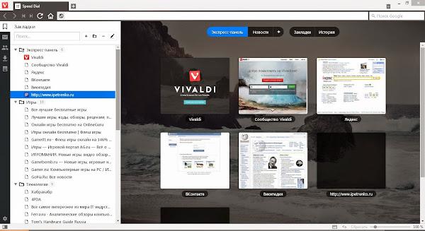 Панель закладок в Vivaldi