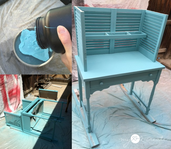 straining paint and spraying potting bench with home right finish max pro