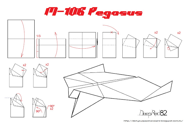 Infografía avión de papel M-106 Pegasus