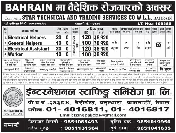 Jobs For Nepali In Bahrain,  Salary -Rs.34,000/