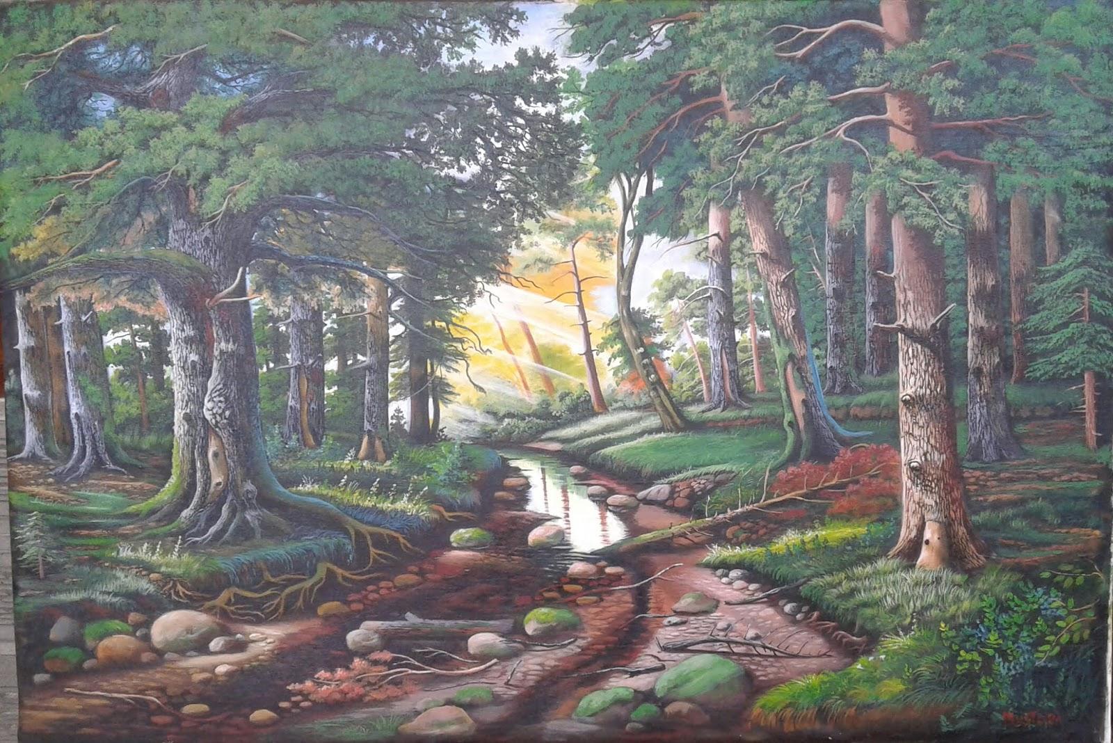 82 Terpopuler Lukisan Pemandangan Alam Hutan Gambar Pemandangan