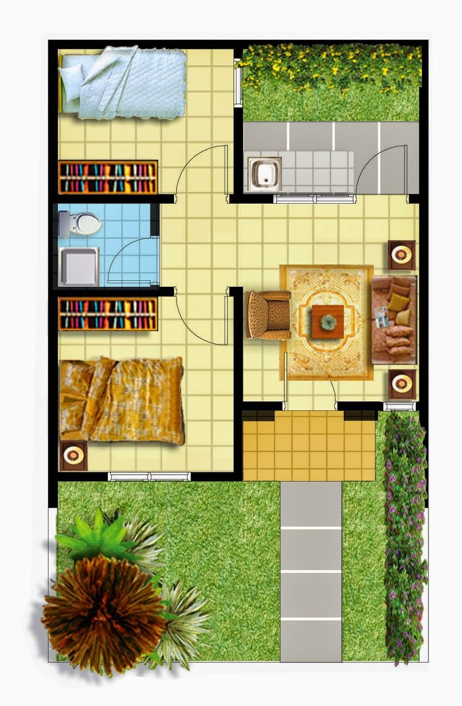 Contoh Gambar Desain Rumah 6x6 Informasi Desain dan Tipe