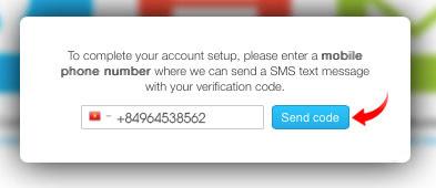 Nhận mã xác minh điện thoại