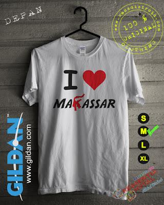 Baju Kaos DISTRO Desain I Love Makassar Warna Putih