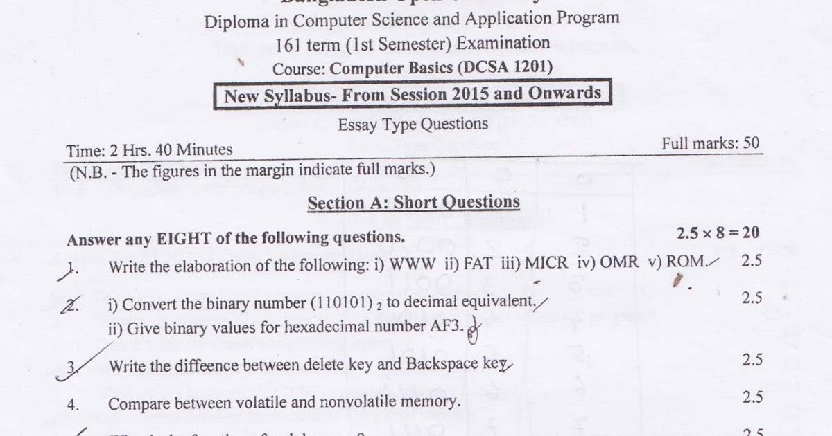 DCSA 161 Term (1st Semester) Examination Question - Computer