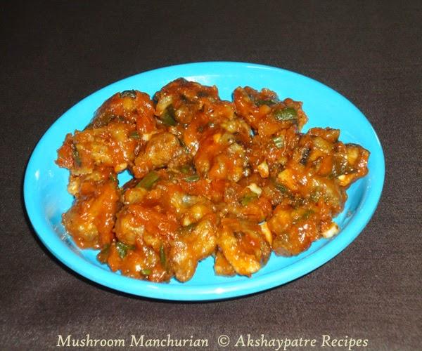 prepared mushroom manchurian
