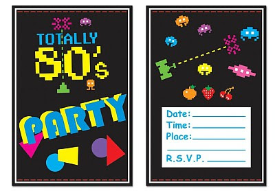 Totally 80s Party Invitations x 8