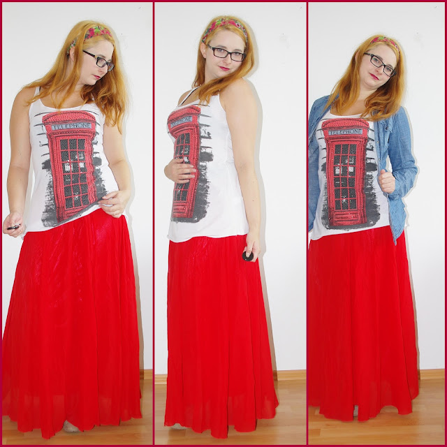 [Fashion Wednesday] Red Telephone Box - Roter Maxirock, London Shirt & Jeansbluse // Red maxi skirt, Shirt & Jeans jacket