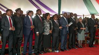 Raila Odinga in Nyeri at Maathira consituency where he attended Late Gachagua Burial. PHOTO   Bana