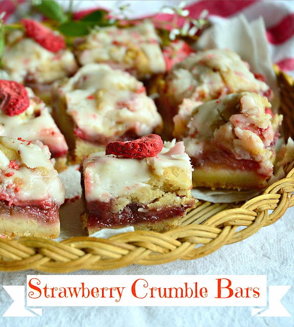 Strawberry Crumble Bars - With a buttery, crisp crust, a delectable fr esh fruit filling, and a crumble of nut filled dough, these red ruby bars  are truly phenomenal. Oh, I didn't mention the simple glaze that one drizzles over the top. Yum. Total Yum. Manservant told me to wrap them up  and get them out of the house. Not much better compliment, than that, huh? www.thisishowicook.com #cookies #bars #strawberrydesserts