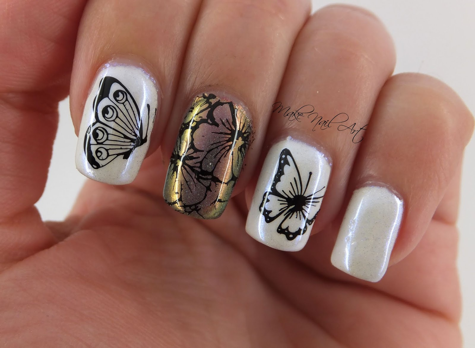 Make Nail Art Stamping Butterflies Nail Art Design Tutorial