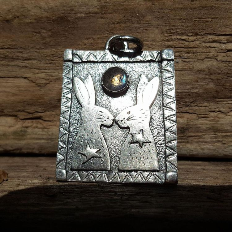 Silver Hares Gemstone Pendant by Leisa Howes Jewellery
