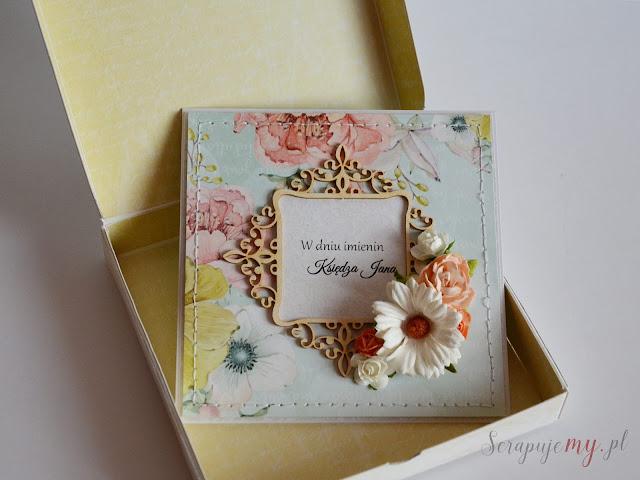 kartka z kwiatami, kartka w pudełku, kartka handmade, kartka ręcznie robiona