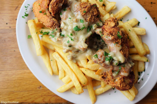 Buttermilk Fried Chicken with French Fries at Milkweed in Boston