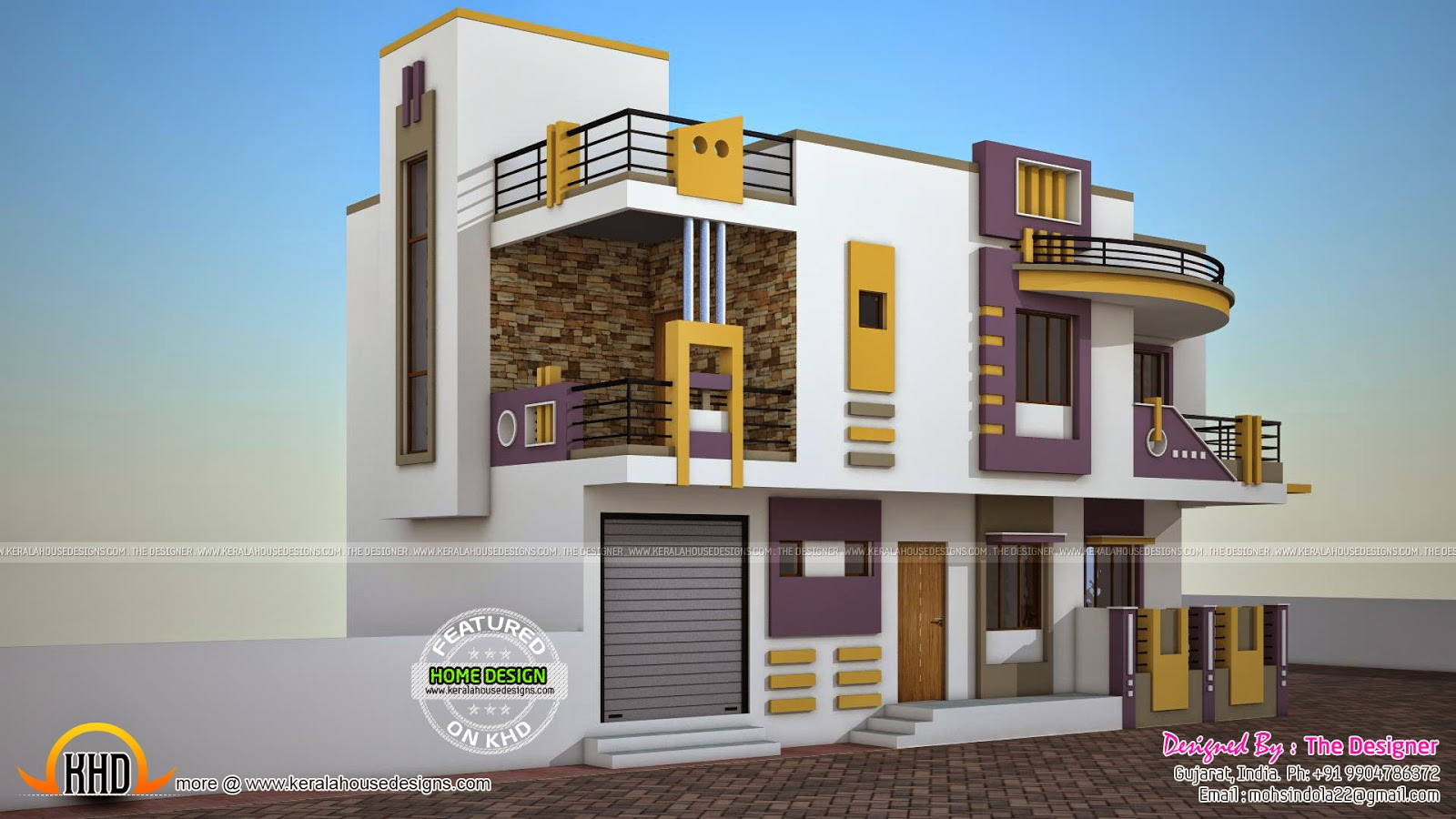 India contemporary house plan kerala home design and for Window design for house in india