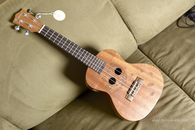 Kmise Carved Cat Concert Ukulele