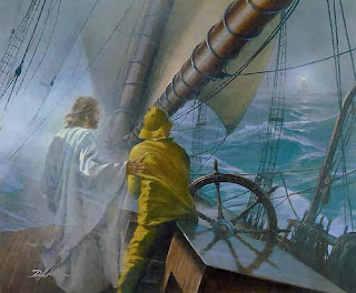 Jesus and a sailor  facing a storm