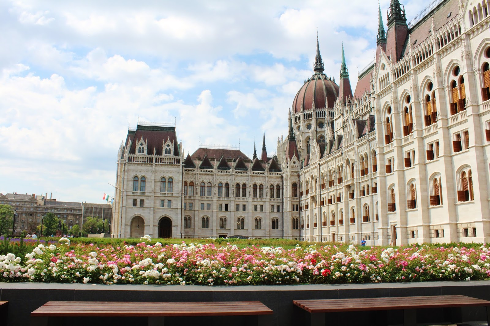 Flowers outside Hungarian Parliament Building Budapest