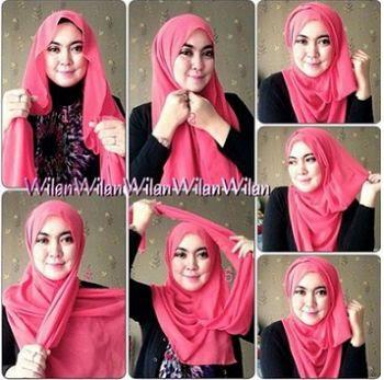 Tutorial Hijab Pashmina Satin Modern