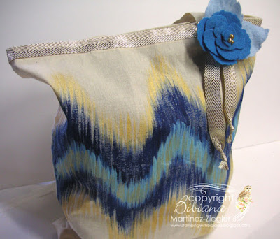 ikat pattern canvas bag front