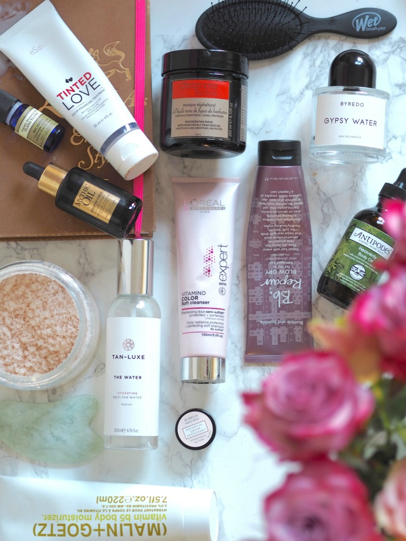 hair and body favourites laura louise beauty bumble and buble haircare byredo gypsy water , christophe robin regenerating mask, e salon tinted love, mythic hair oil, neals yard aromatherapy,  aurelia botanical cream deodrant