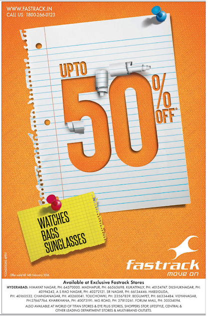 Up to 50% off on Fastrack watches, bags & Sunglasses.