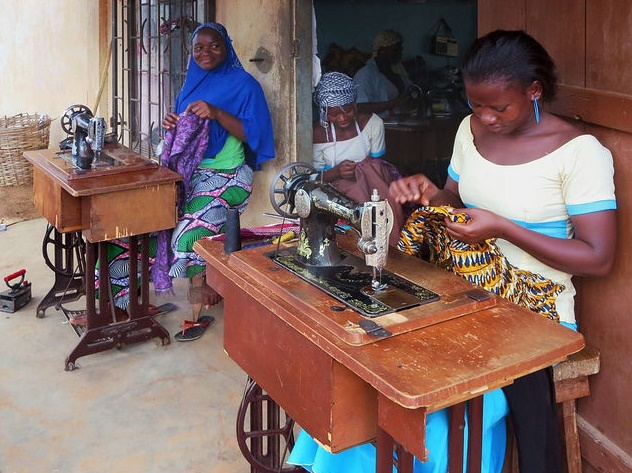 Seamstresses at work at Djamina Couture in Lome Togo