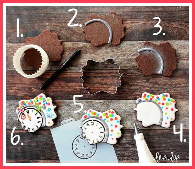 New Year's Eve party decorated sugar cookies -- tutorial