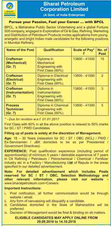 BPCL Recruitment 2018