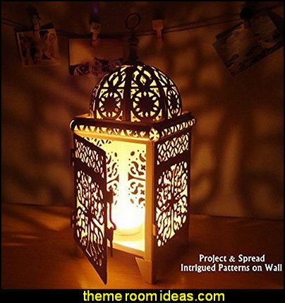 Moroccan Style Matte Cream White Cast Iron Handmade Square Scrollwork Candle Lantern