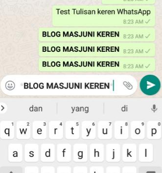 tulisan whatsapp tebal/bold