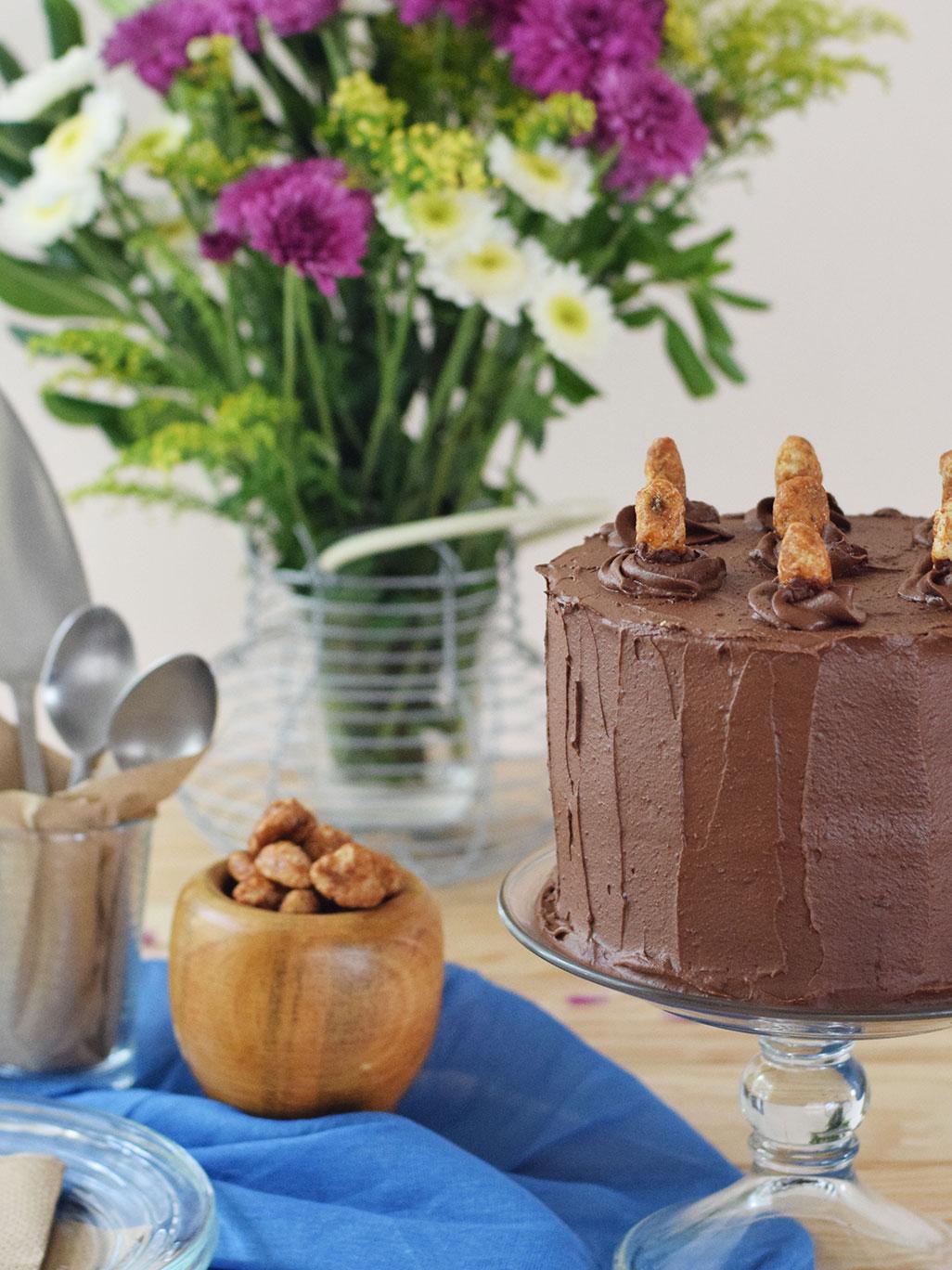 Receta de Pastel Vegano de Chocolate cubierto de Ganache de Chocolate