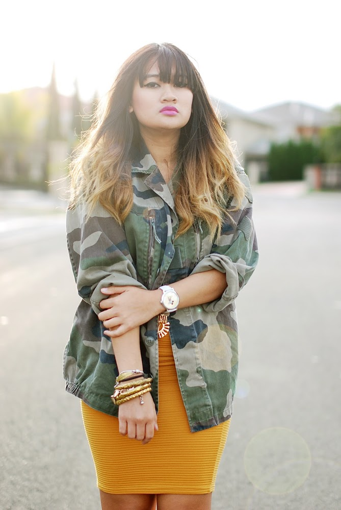 Asos Army Camo Jacket Blue Jade Mustard Skirt
