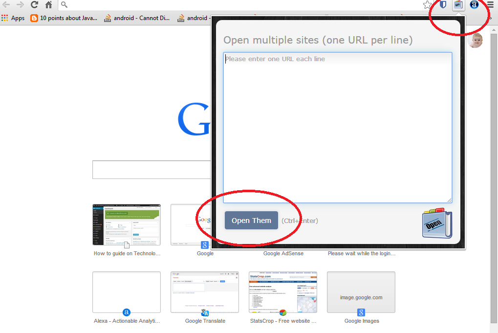 Multiple link open in chrome browser in one click step 2