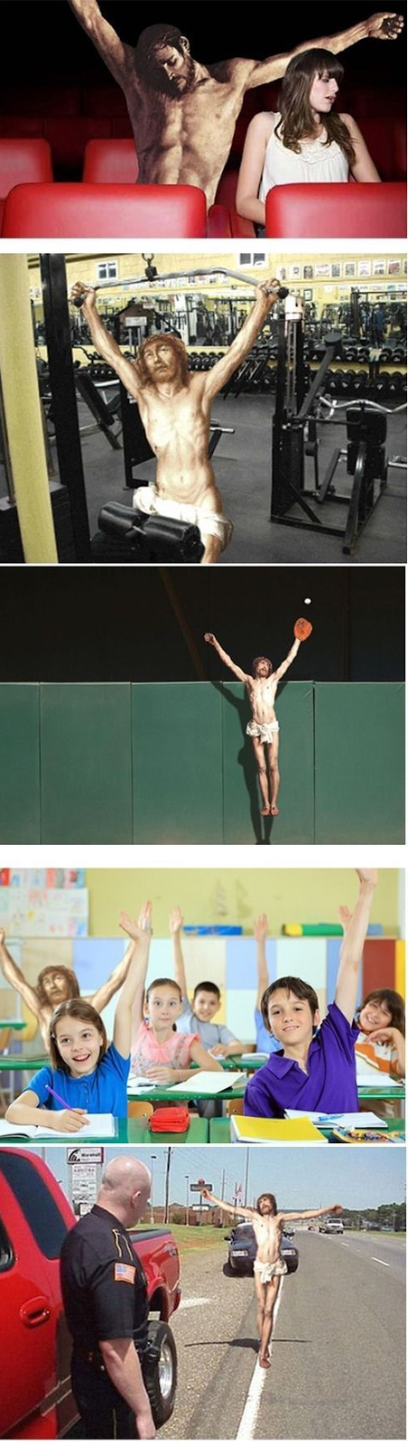 Funny Crucified Jesus Poses - Baseball, school answer, gym