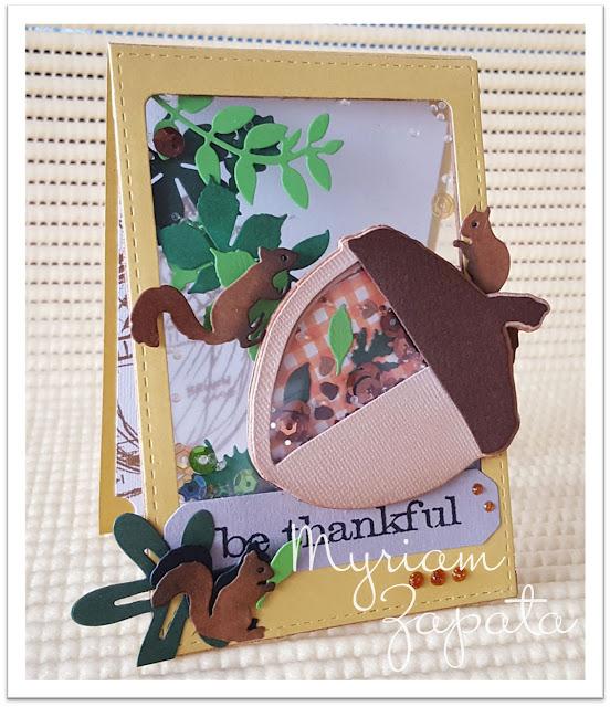 Shaker card bellota y ardillas por Myriam Zapata