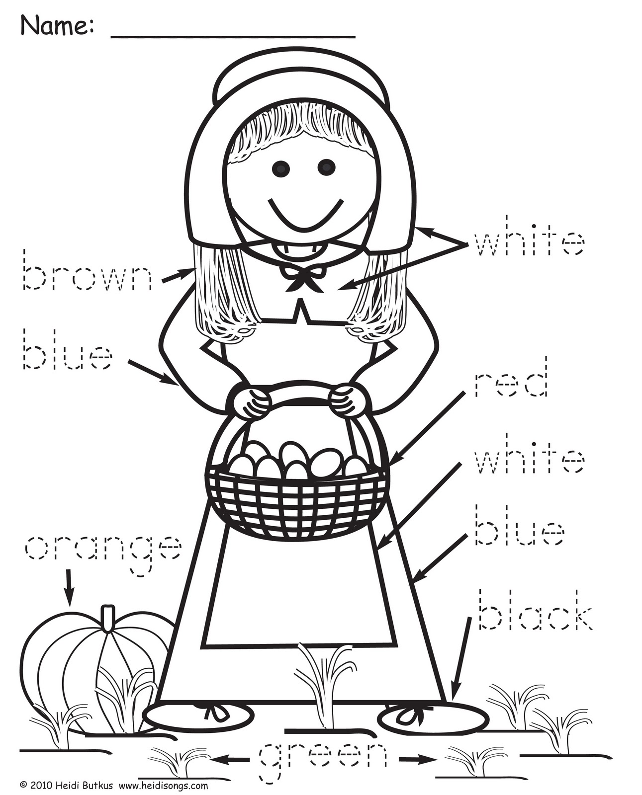 Pilgrim Color Word Worksheet