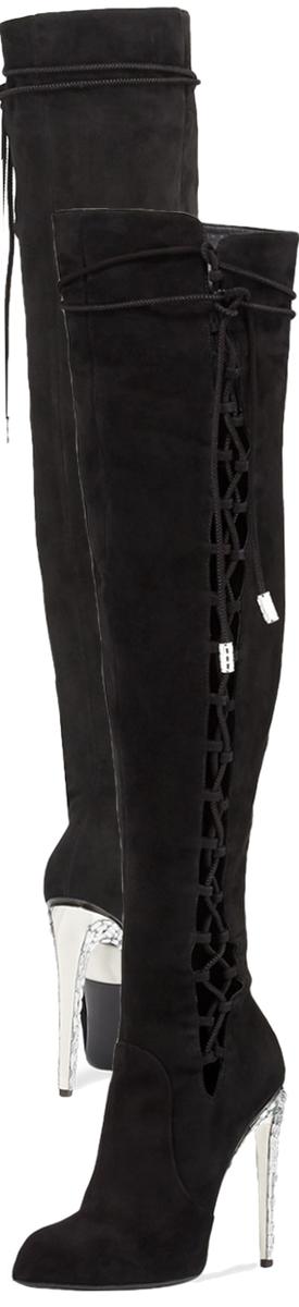 Giuseppe Zanotti for Jennifer Lopez Frida Suede 120mm Over-The-Knee Boot