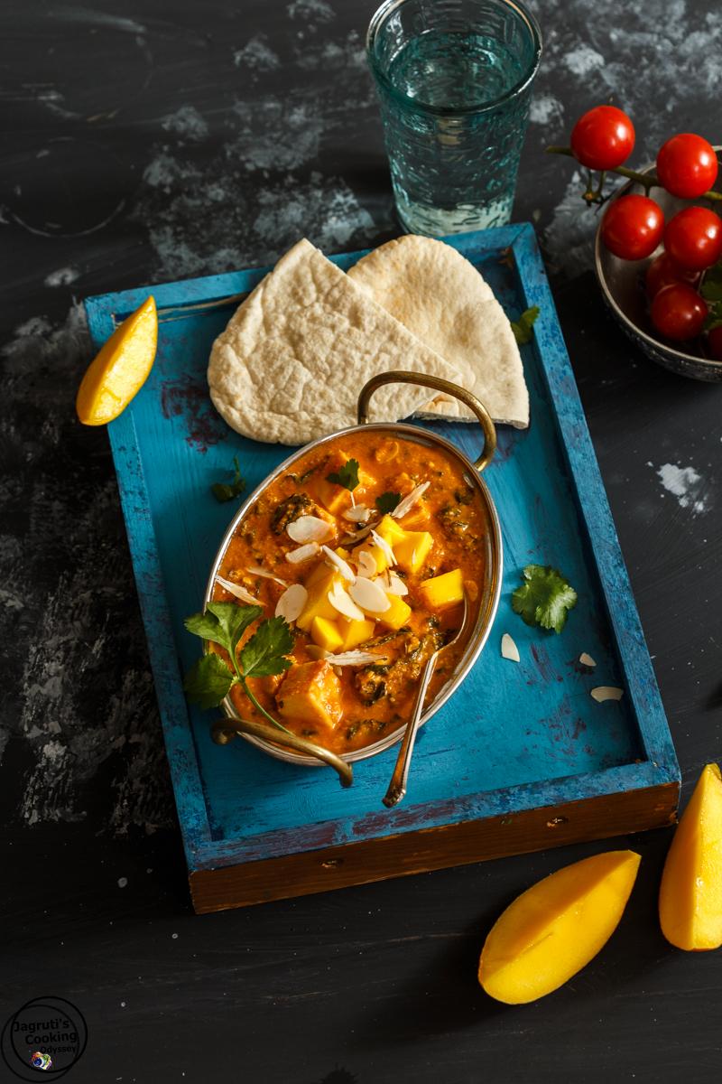 Badami Methi mango Paneer-Jagruti's Cooking Odyssey