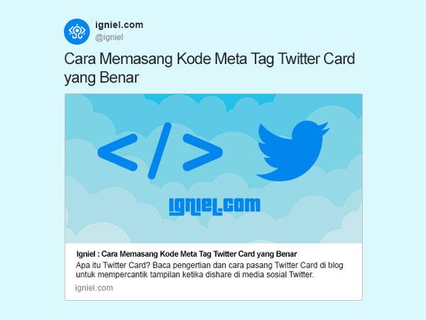 Cara Memasang Kode Meta Tag Twitter Card di Blog