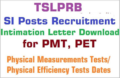 Telangana SI Events 2016 TSLPRB PMT PET Information Letter Download TS Police SI Event Dates Infraction Results TSLPRB SI Posts 2016 Hall ticket  Intimation Letter for PMT, PET; TSLPRB SI Posts PMT, PET will be held in June 2016, TSLPRB SI Posts 2016 Physical Measurements Test(PMT), Physical Efficiency Test(PET) Dates, PMT & PET Will be held June 2016: The TSLPB released the SI (Civil & Communication) 2016 recruitment notification on 06-02-2016 and submission of online applications commenced from 10th February, 2016 and closed on 10th March, 2016 midnight. Hall Tickets were issued for SI (CIVIL) and SI (Communication). The examination was conducted on 17-04-2016 from 10.00 AM to 1.00 PM for SI (Civil/etc.) and from 2.30 PM to 5.30 PM for SI (Commn). Telangana SI Events 2016 TSLPRB PMT PET Information Letter Download Telangana SI Events 2016 TSLPRB PMT PET Information Letter Download Telangana SI Events 2016 TSLPRB PMT PET Information Letter Download
