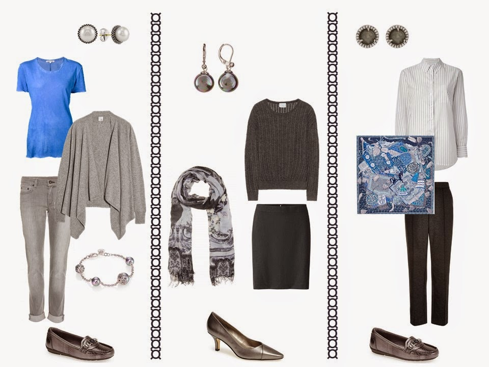 "3 outfits from a 12-Piece ""Whatever's Clean"" wardrobe in grey, blue and white"
